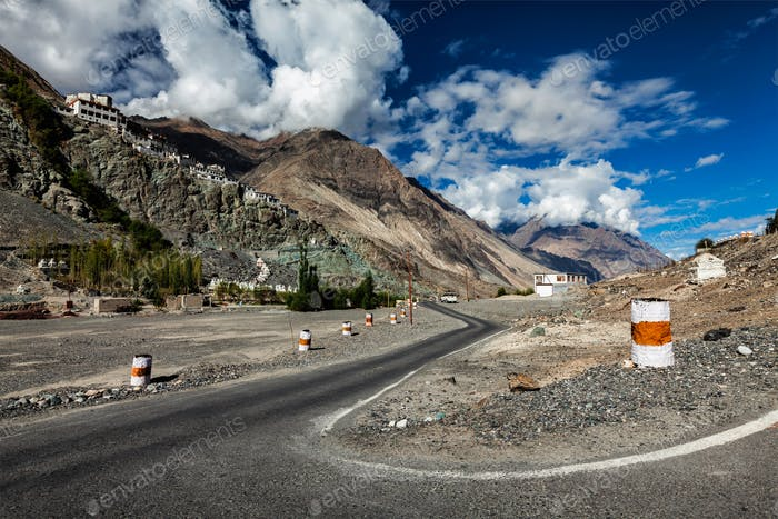 Road to Diskit gompa Tibetan Buddhist monastery, Ladakh
