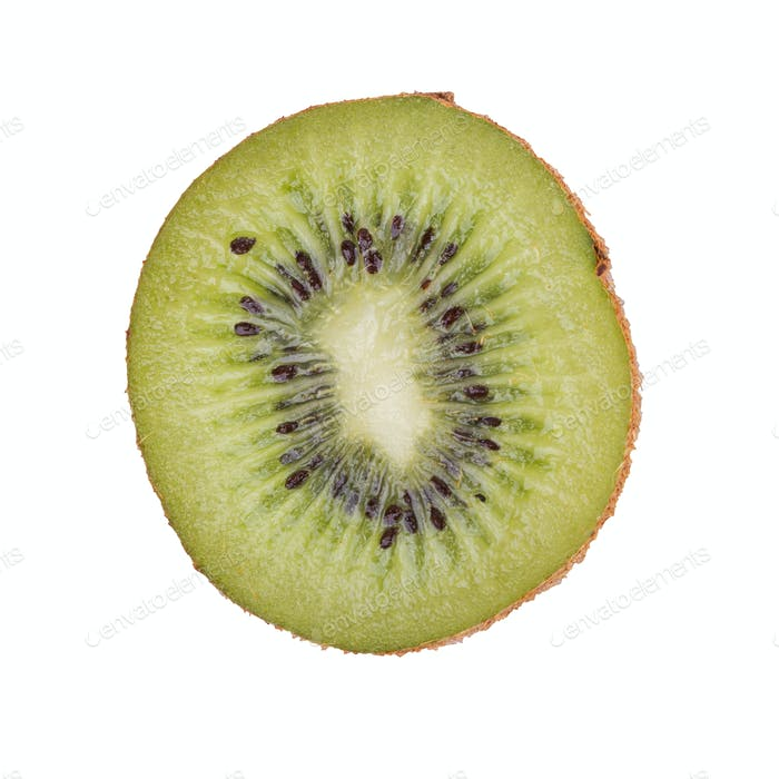 Half of kiwi on a white background