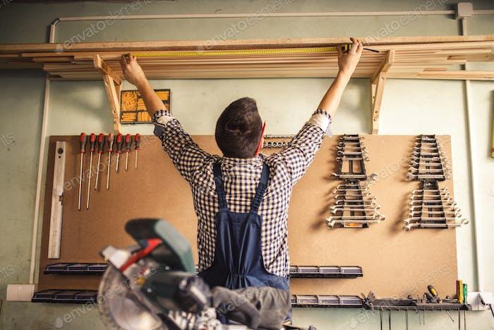 Measuring some wood