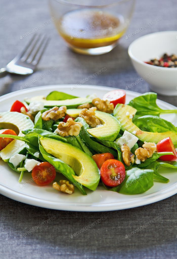 Avocado with Spinach and Feta salad