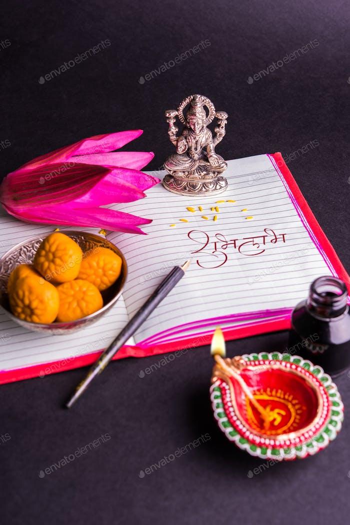 Shubha Labh Buch über Konten geschrieben