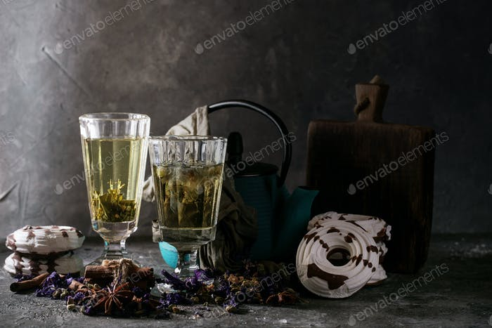 Blue herbal tea