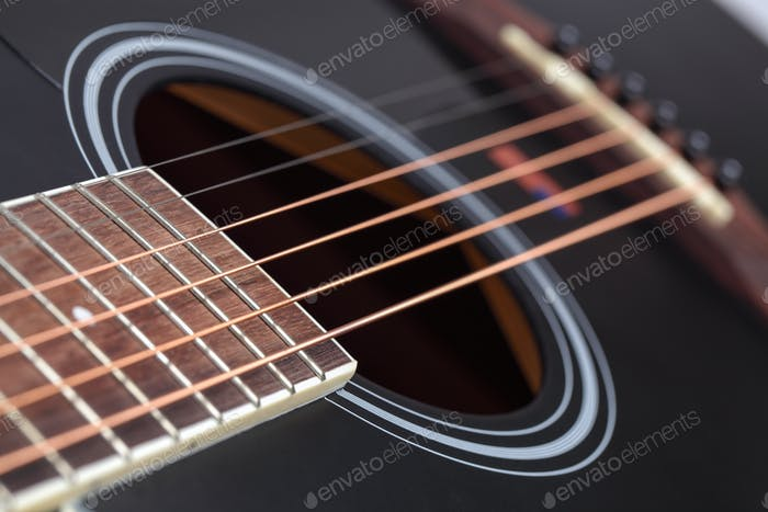 closeup of the guitar