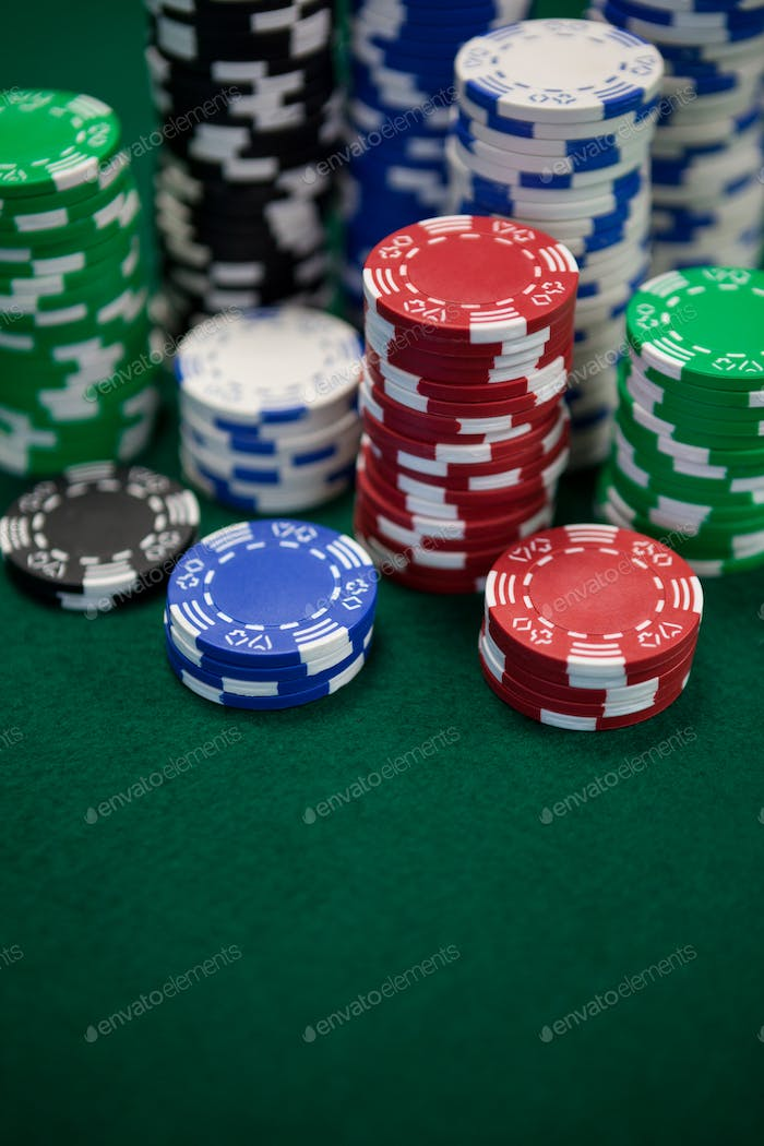 Close-up of casino chips