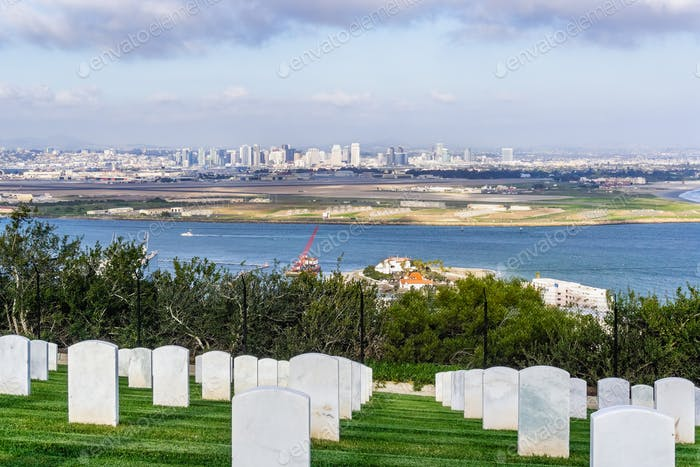 Military cemetery; San Diego's skyline in the background, California