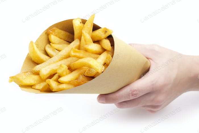 hand offering fries