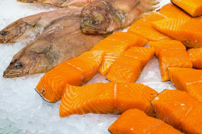 Salmon and plaice for sale