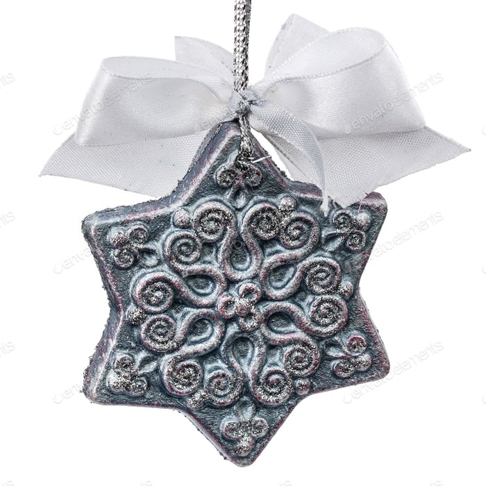 Beautiful toy of hand-worked for festive decoration, isolated on