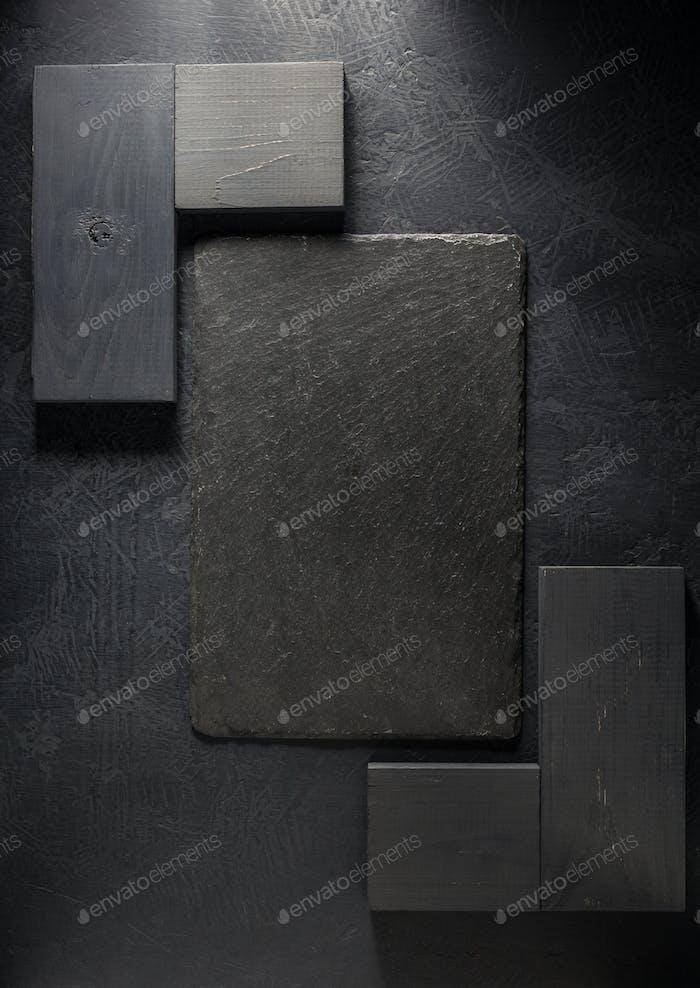 slate signboard at black