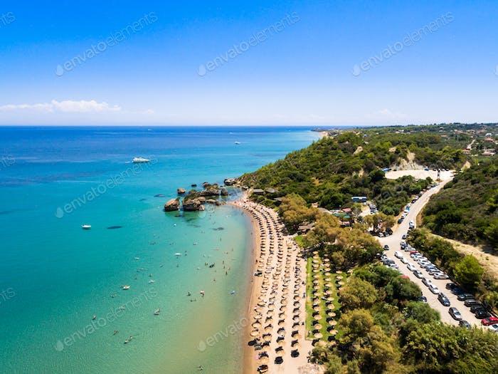 Aerial  view of Porto Zorro  Azzurro beach in Zakynthos (Zante)