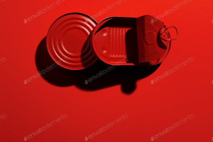Dark red tin can on red background