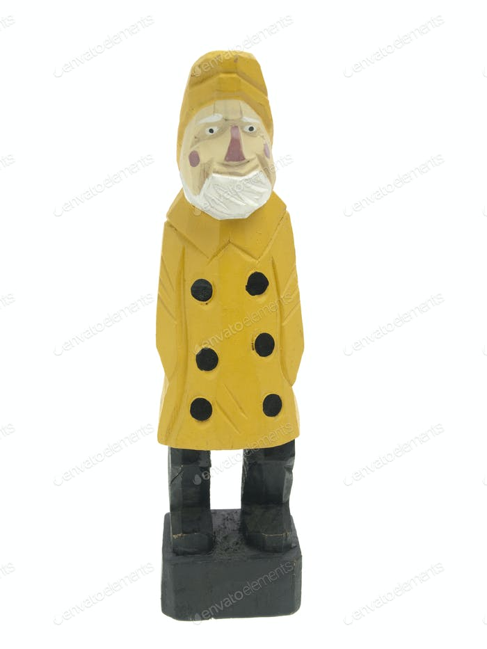Old fisherman statuette front view