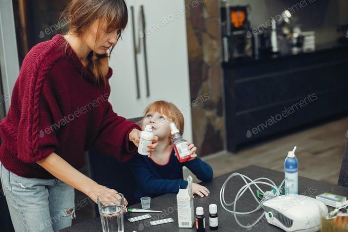 Mother treats her daughter at home