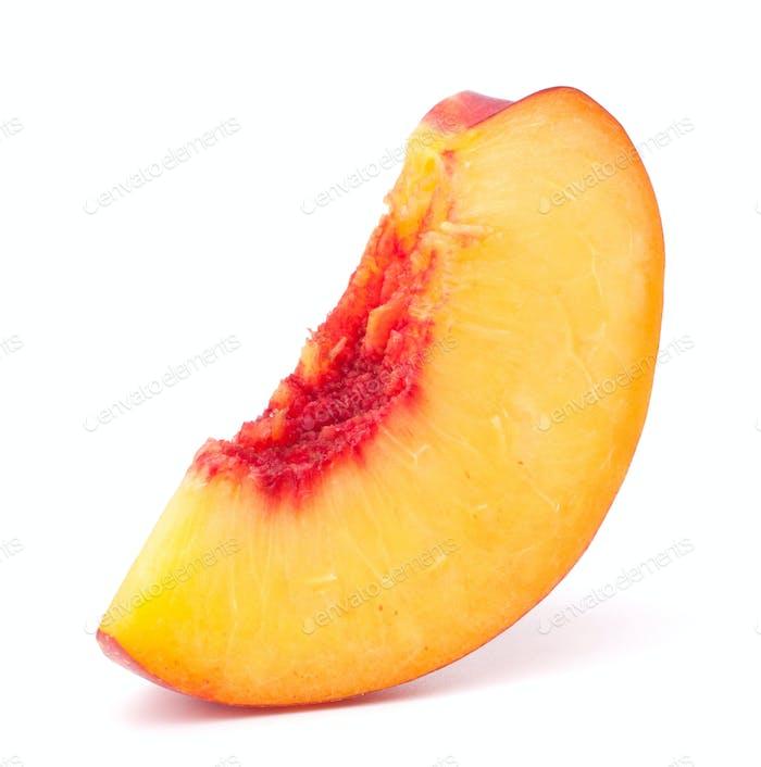 Nectarine fruit segment isolated on white background cutout