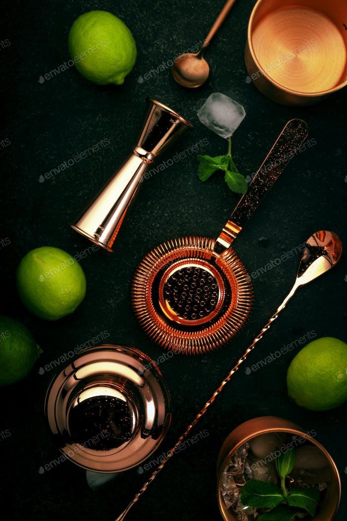 Медные инструменты и аксессуары для бармена для приготовления коктейля