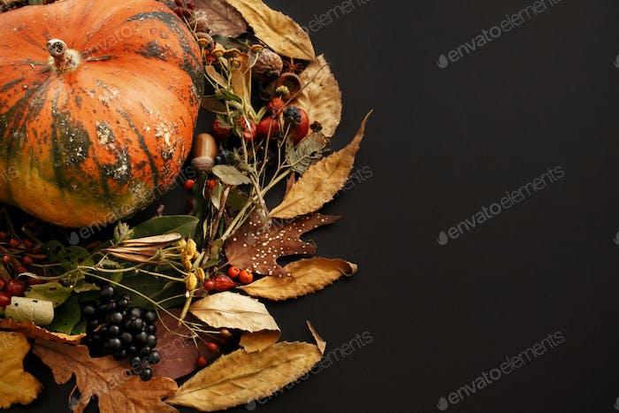 Pumpkin in autumn leaves wreath