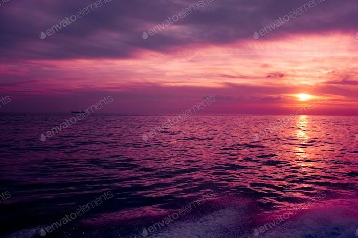 Purple Sunset Above The Sea