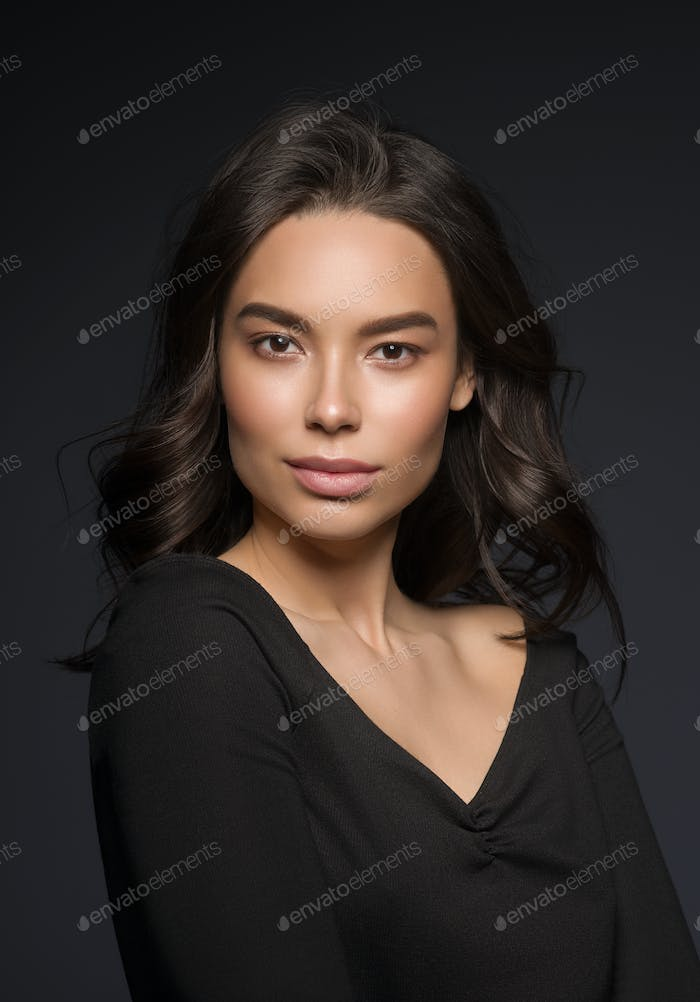 Asian beauty  woman face natural makeup head shot