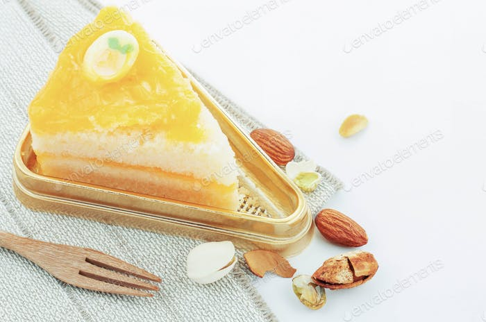 Orange cake on tray