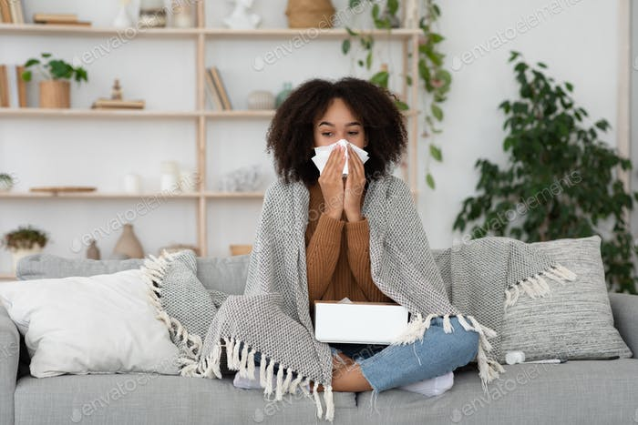 Feeling unwell, virus fever, first symptoms of illness and colds