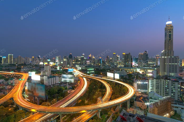 Elevated highway The curve of the bridge in Bangkok cityscape, closely the business