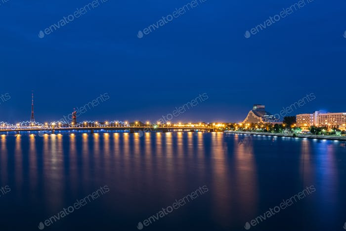 Night Cityscape Of Riga, Latvia. View On The National Library Of