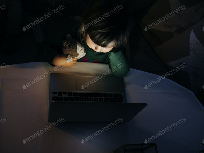 Chica mirando portátil
