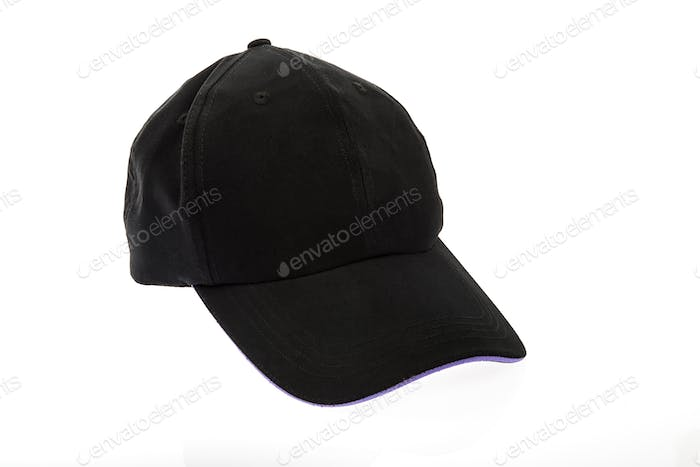 Black golf cap with purple colour trim on white background