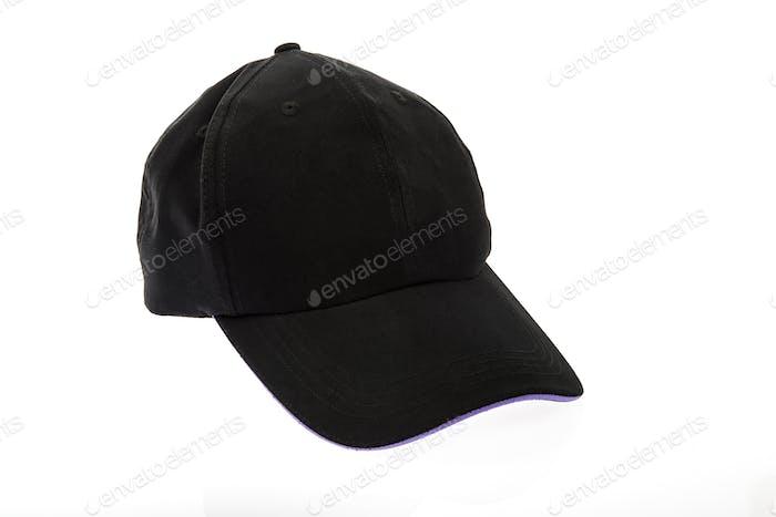 Black golf cap with purple colour trim on white background