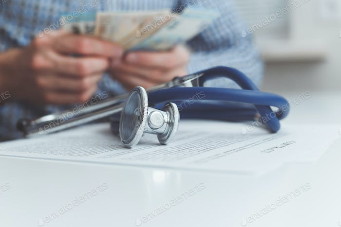 Finance and medicine. Health insurance concept