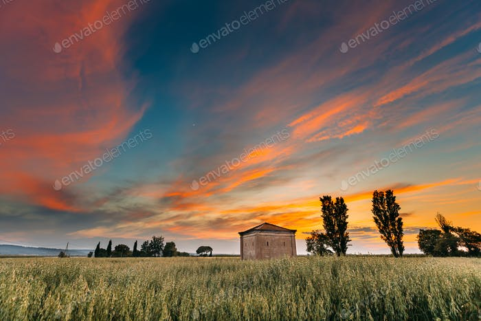 Catalonia, Spain. Spring Sunset Sky Above Spanish Countryside Ru