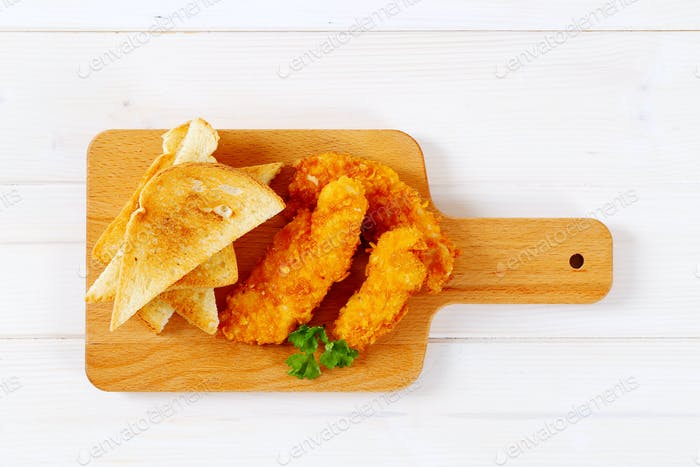 chicken strips with toast
