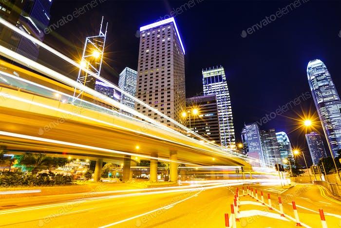 Traffic car lights in Hong Kong night