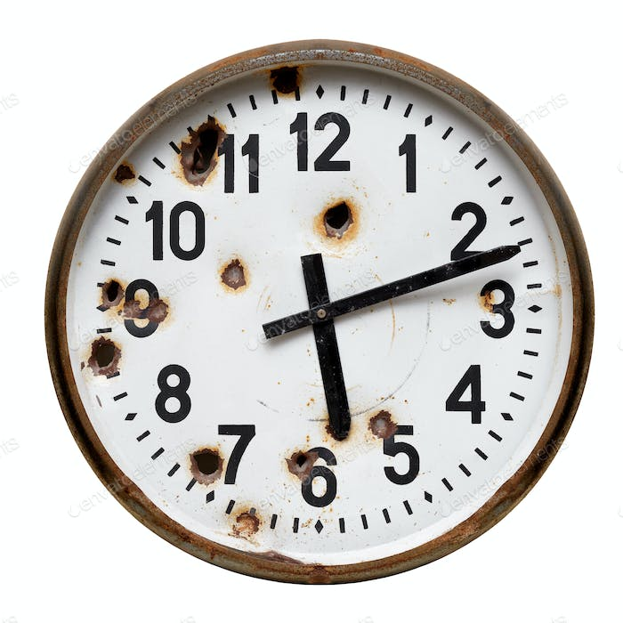 Old rusty round wall clock