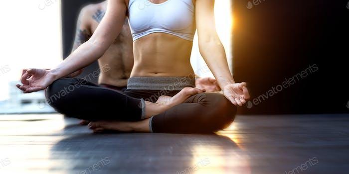 Woman Man Yoga Practice Pose Training Concept