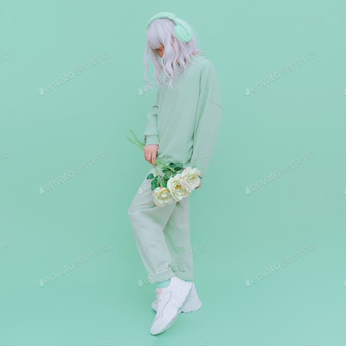 Fashion Dj Lady in Fresh Mint clothing. Minimal aesthetic monochrome design. Aqua menthe  trend