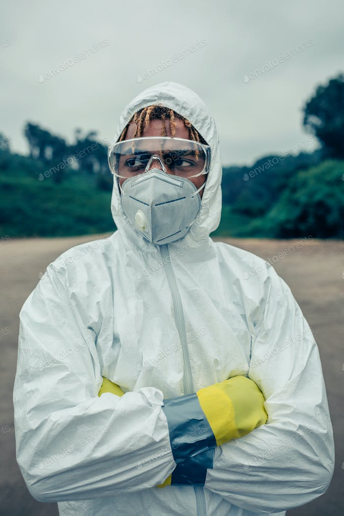 Man with bacteriological protection suit
