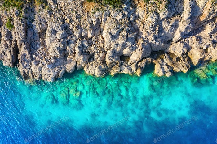 Croatia. Coast as a background from top view. Turquoise water background from top view.