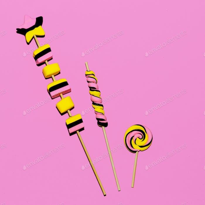 Sweet Set. Pink vibes. Candy Minimal Flatlay art