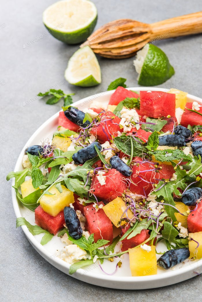Healthy Diet,Summer Fresh Watermelon Salad with Feta Cheese,Gree