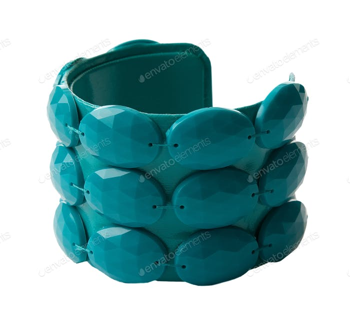 Crystalline plastic beads green bangle