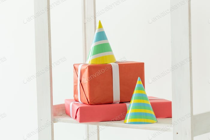 Caps cones for birthday and gift box. Birthday holiday party concept