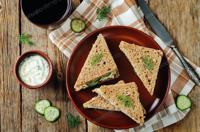 Cream cheese dill cucumber english tea sandwiches