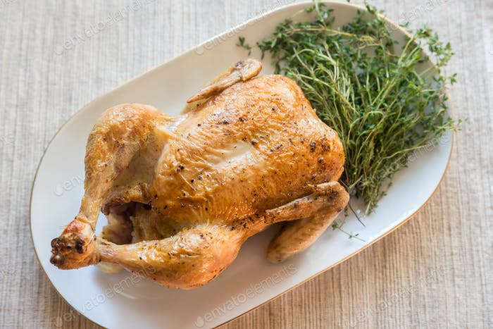 Roasted chicken with fresh thyme