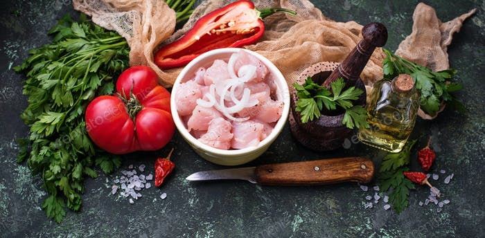 Raw sliced chicken meat ready for cooking