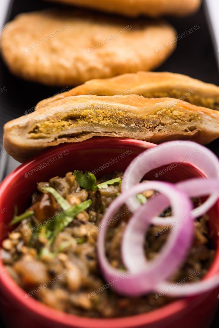 Fried Sattu Litti chokha