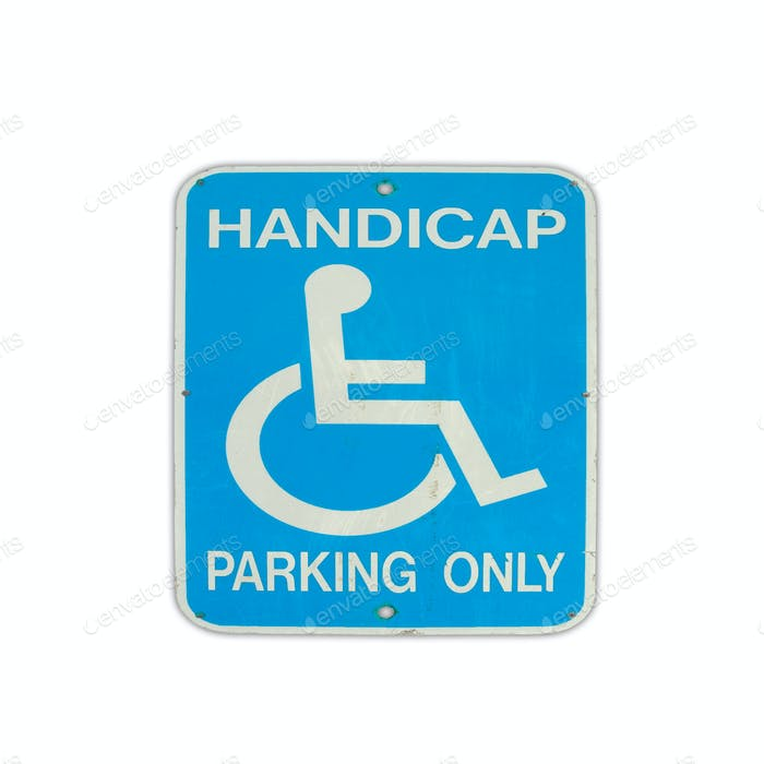 road sign parking for disabled isolated