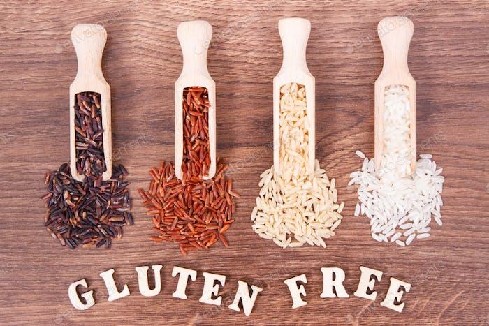 Schwarzer, roter, brauner und weißer Reis auf Holzschaufel, glutenfreies Ernährungskonzept