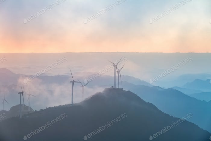 wind farm in sunrise
