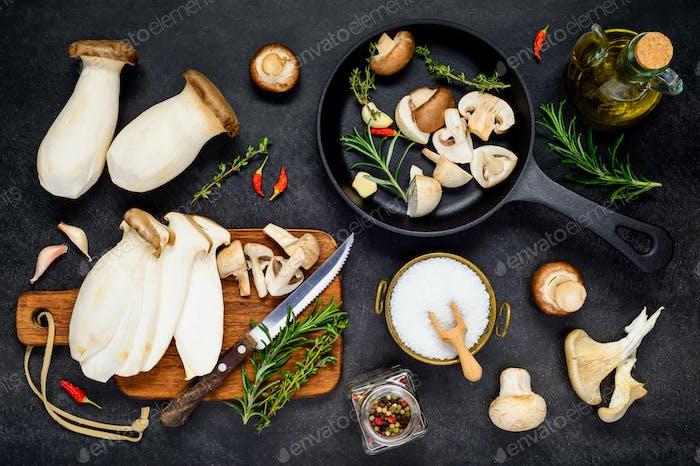 Cooking Eryngii Edible Mushrooms